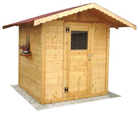 Casetta da giardino in legno 2x2 con un aporta e una finestra