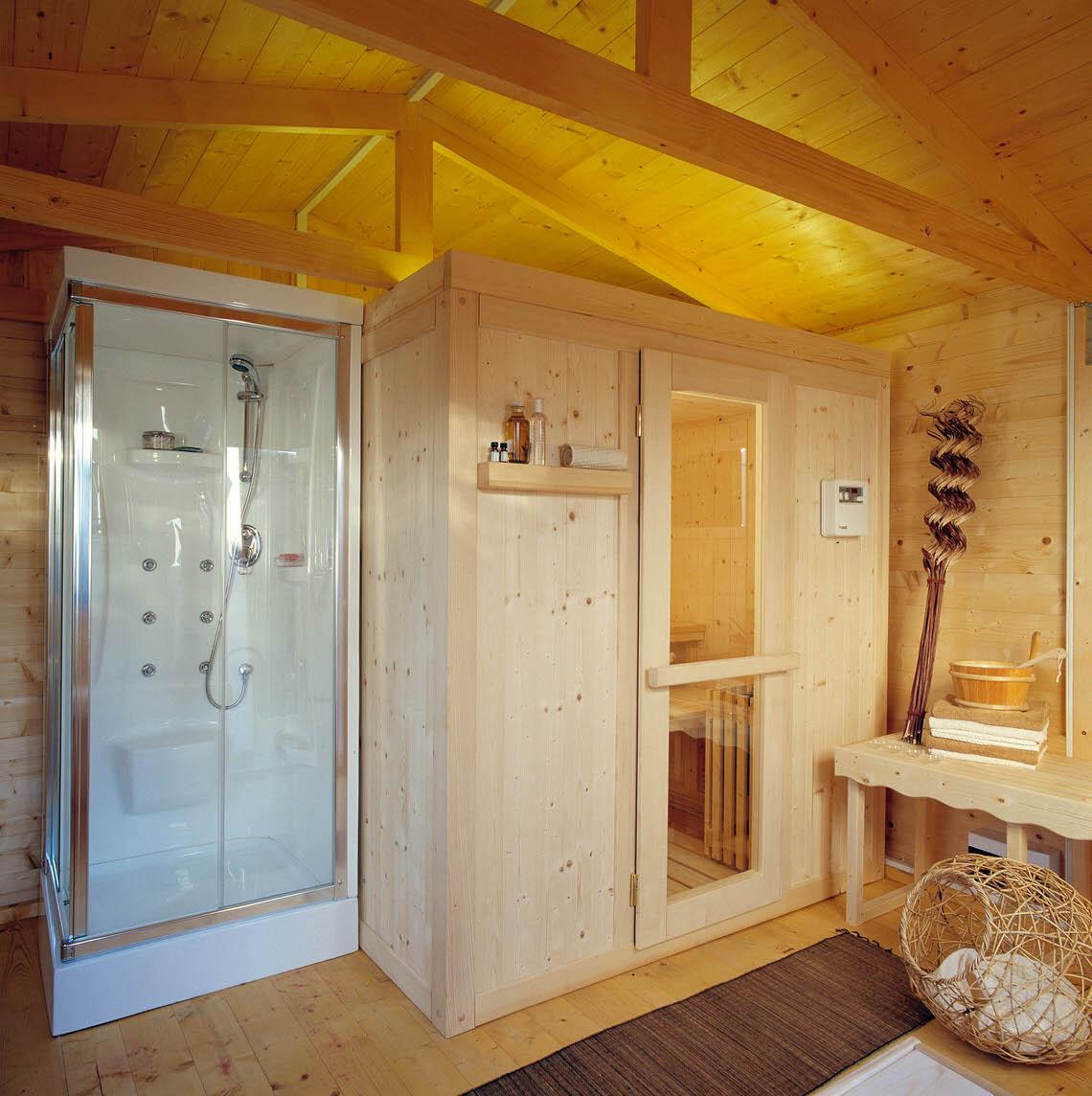 Sauna Elite 200x150 con doppia panca e porta in vetro
