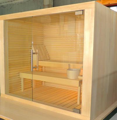 sauna Sky con chiusra in vetro temperato