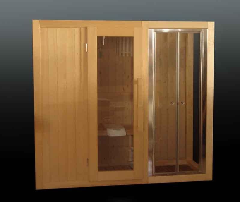 Sauna con doccia