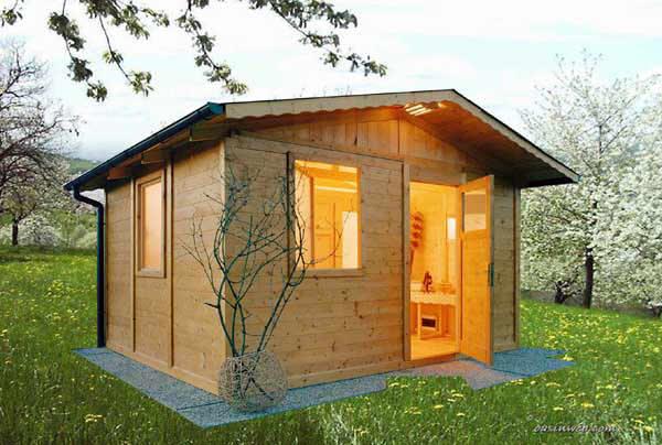 Casetta benessere con sauna e box doccia