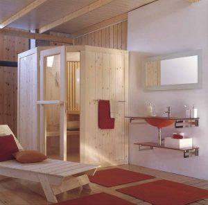 Sauna finlandese ad angolo