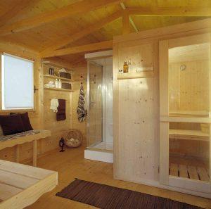 Sauna finlandese dentro casa benessere
